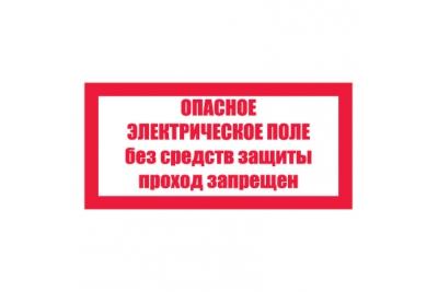 T23/S13 Опасное электрическое поле. Без средств защиты проход запрещен (Пленка 100 х 200)
