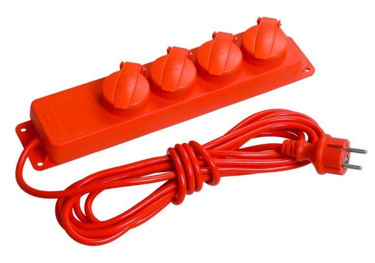 Удлинитель 4-мест. 5м 2P+E с крышками оранж. 16А IP44 (ПВС 3х1,0) ИЭК