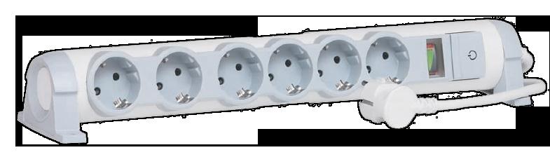 Удлинитель 6-мест. 3м 2Р+Е поворотный с выкл. и инд. мощности, шторки бел. 16А (ПВС 3х1,5) Legrand