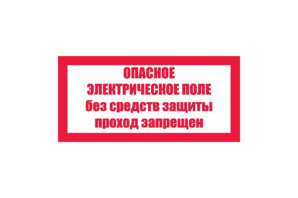 T23/S13 Опасное электрическое поле. Без средств защиты проход запрещен (Пластик 100 х 200)