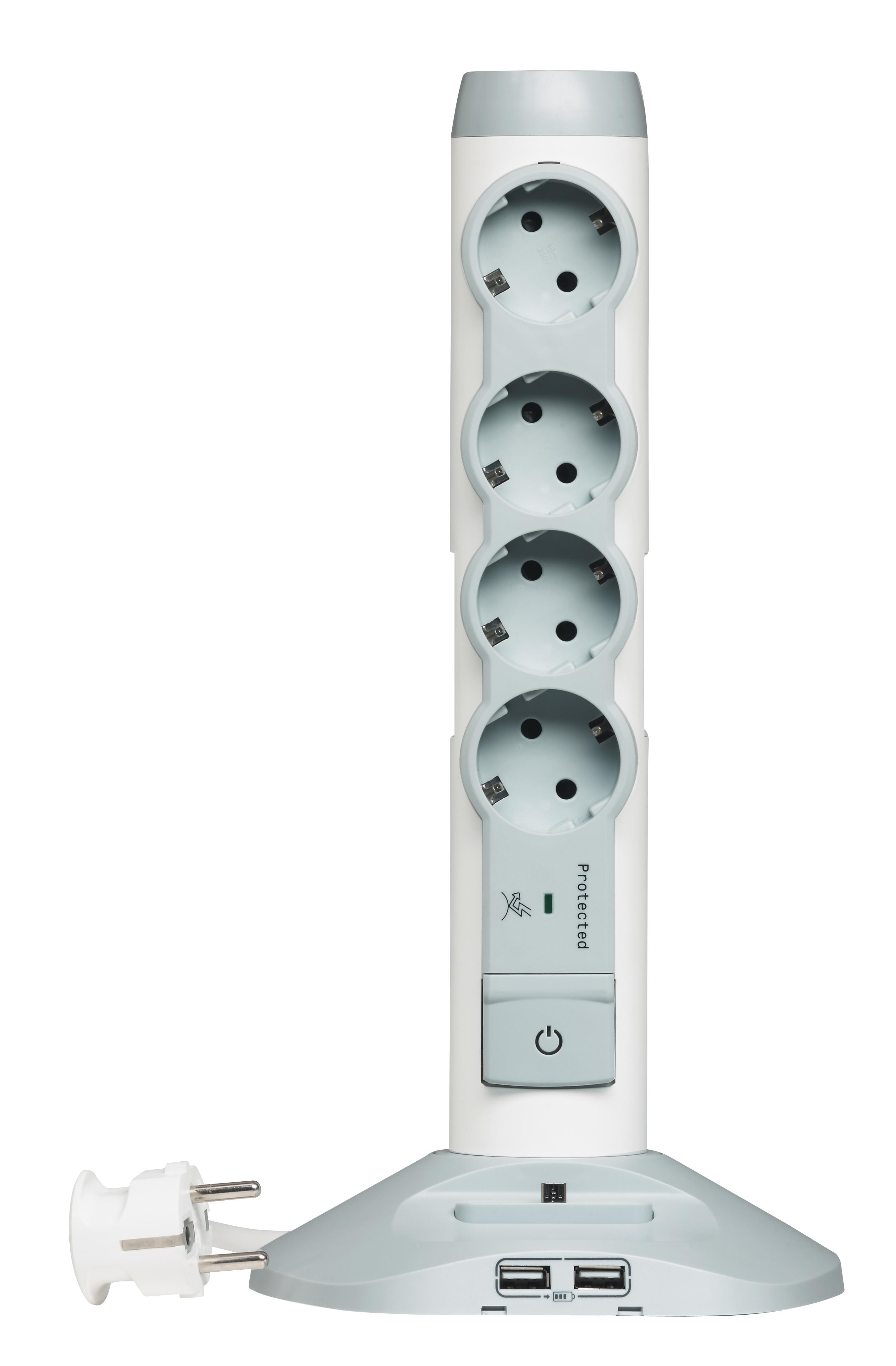 Стойка : 4 роз. 2Р+Е шторки 16А с выкл. + 2 USB+1микро USB. бел. 2м (ПВС 3х1,0) Legrand